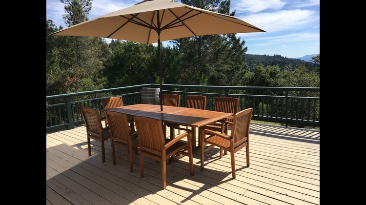 Teak Table w/ view of Mt Tam